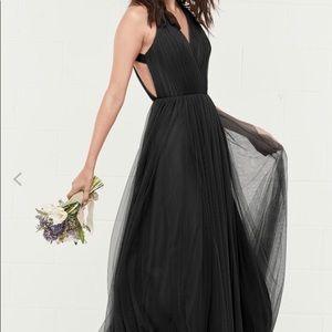 Black backless bridesmaid dress. Worn once.